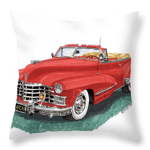 Framed Prints Of Vintage 1947 Cadillac Convertibles Throw Pillow featuring the painting Cadillac Series 62 Convertible by Jack Pumphrey