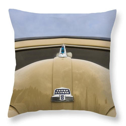 Antique Throw Pillow featuring the photograph 1947 Ford Super Deluxe Wagon by Jack R Perry