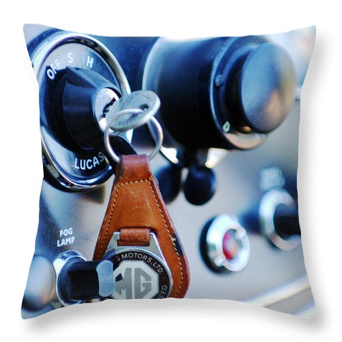 1948 Mg Tc Key Ring Throw Pillow featuring the photograph 1948 Mg Tc Key Ring by Jill Reger