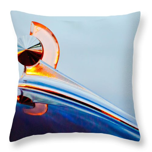 1949 Ford Throw Pillow featuring the photograph 1949 Ford Hood Ornament 2 by Jill Reger