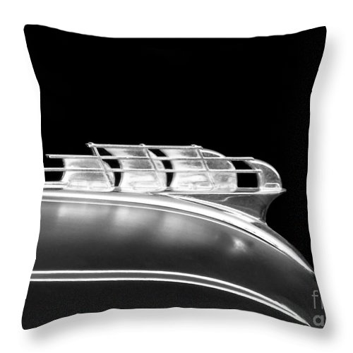 Throw Pillow featuring the photograph 1949 Plymouth Schooner Hood Ornament 2 by Renee Trenholm