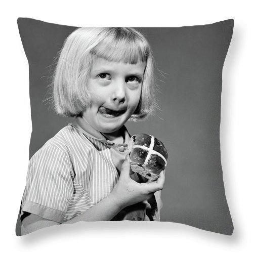Photography Throw Pillow featuring the photograph 1950s 1960s Blonde Girl Licking by Vintage Images
