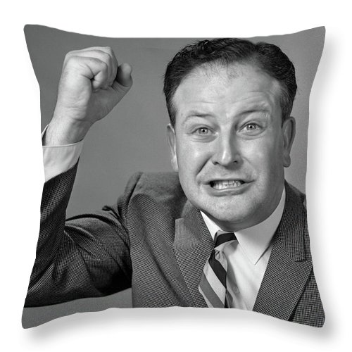 Photography Throw Pillow featuring the photograph 1950s 1960s Portrait Of Angry Man by Vintage Images