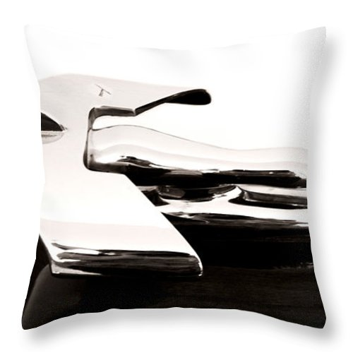 1950s Throw Pillow featuring the photograph 1950s Nash Hood Ornament by Marilyn Hunt