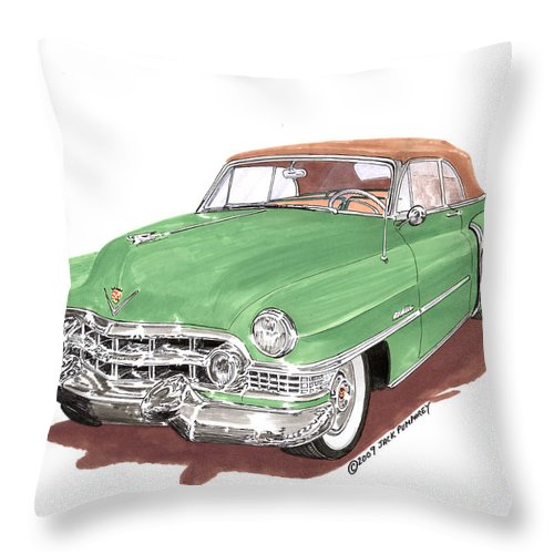 Classic Car Paintings Throw Pillow featuring the painting 1951 Cadillac Series 62 Convertible by Jack Pumphrey
