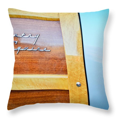 1951 Ford Woodie Country Squire Emblem Throw Pillow featuring the photograph 1951 Ford Woodie Country Squire Emblem by Jill Reger