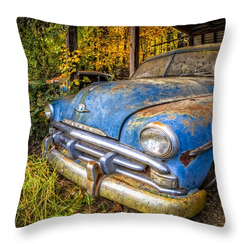 1950 Throw Pillow featuring the photograph 1952 Plymouth by Debra and Dave Vanderlaan