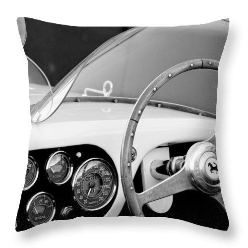 1953 Ferrari 340 Mm Lemans Spyder Steering Wheel Emblem Throw Pillow For Sale By Jill Reger