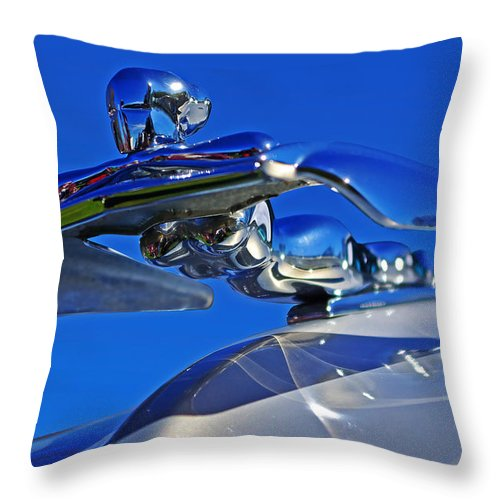 Nash Throw Pillow featuring the photograph 1953 Nash Flying Lady Mascot by Rich Walter
