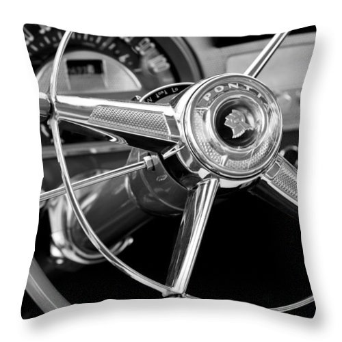 1953 Pontiac Throw Pillow featuring the photograph 1953 Pontiac Steering Wheel 2 by Jill Reger