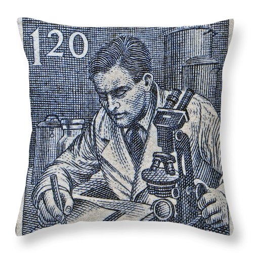 1954 Throw Pillow featuring the photograph 1954 Czechoslovakian Scientist Stamp by Bill Owen