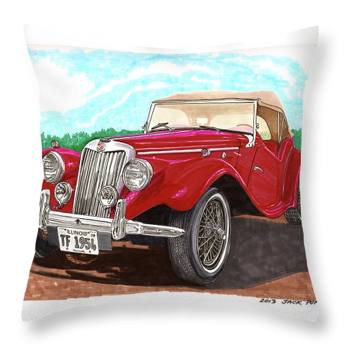 Jacks Car Artwork Of The 1954 Mg Tf The Performance Of The Tf Was Acceptable Throw Pillow featuring the painting 1954 M G T F by Jack Pumphrey
