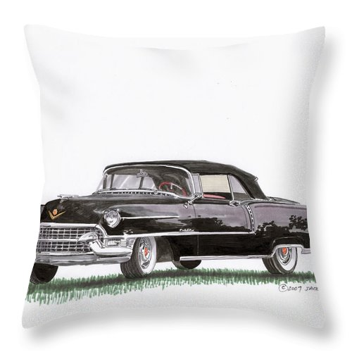 Classic Car Paintings Throw Pillow featuring the painting 1955 Cadillac Series 62 Convertible by Jack Pumphrey