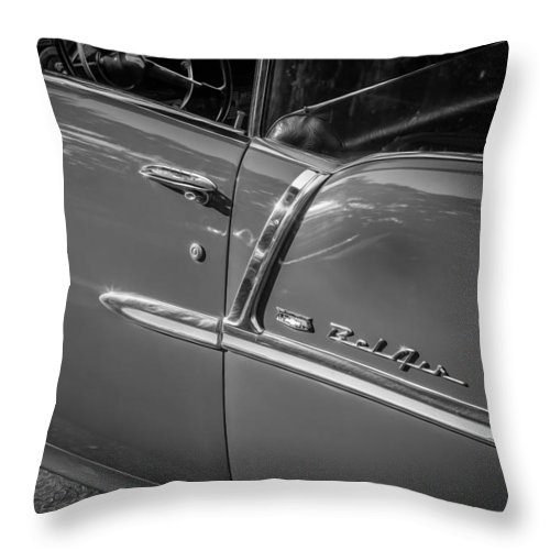 1955 Chevy Throw Pillow featuring the photograph 1955 Chevrolet Bel Air Bw by Rich Franco