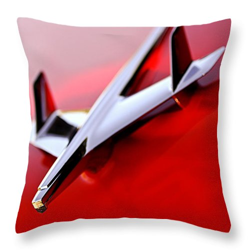 1955 Chevrolet Belair Nomad Hood Ornament Throw Pillow featuring the photograph 1955 Chevrolet Belair Nomad Hood Ornament by Jill Reger