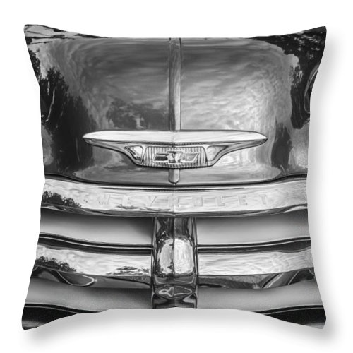 Hood Ornament Throw Pillow featuring the photograph 1955 Chevrolet First Series Bw by Rich Franco
