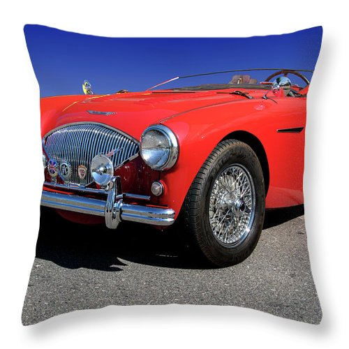 1956 Throw Pillow featuring the photograph 1956 Austin Healey by Paul Cannon