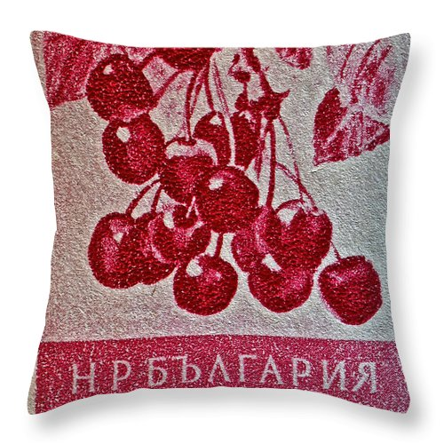 1956 Bulgarian Throw Pillow featuring the photograph 1956 Bulgarian Wild Cherry Stamp by Bill Owen