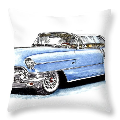 1956 Throw Pillow featuring the drawing 1956 Cadillac Coupe De Ville by Jack Pumphrey