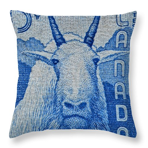 1956 Throw Pillow featuring the photograph 1956 Canada Mountain Goat Stamp by Bill Owen
