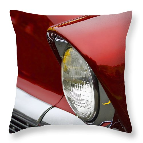 1956 Throw Pillow featuring the photograph 1956 Chevrolet Headlamp 1956 by Carol Leigh