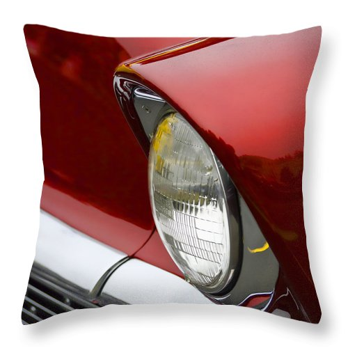 1956 Throw Pillow featuring the photograph 1956 Chevrolet Headlamp Square 1956 by Carol Leigh