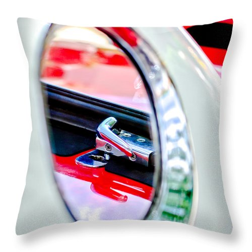 1956 Ford Thunderbird Latch Throw Pillow featuring the photograph 1956 Ford Thunderbird Latch -417c by Jill Reger