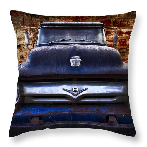 '56 Throw Pillow featuring the photograph 1956 Ford V8 by Debra and Dave Vanderlaan