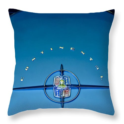 1956 Lincoln Continental Throw Pillow featuring the photograph 1956 Lincoln Continental Mark II Emblem by Jill Reger