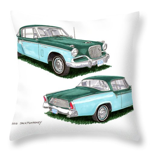 1956 Studebaker Art By Jack Pumphrey Throw Pillow featuring the painting 1956 Studebaker Coming And Going by Jack Pumphrey