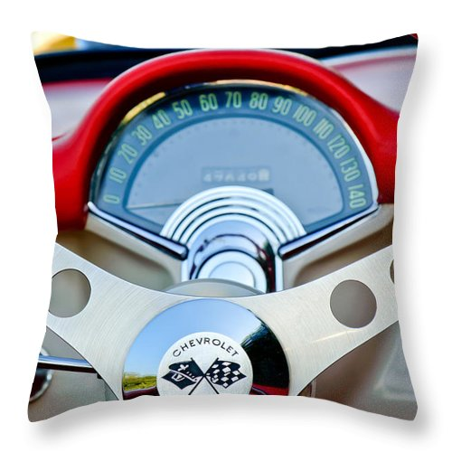Car Throw Pillow featuring the photograph 1957 Chevrolet Corvette Convertible Steering Wheel by Jill Reger