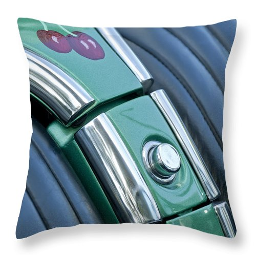 1957 Chevrolet Corvette Throw Pillow featuring the photograph 1957 Chevrolet Corvette Glove Box by Jill Reger