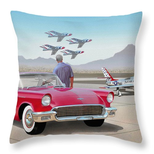 Automotive Fine Art Throw Pillow featuring the painting 1957 Thunderbird With F-84 Thunderbirds Red Classic Ford Vintage Art Sketch Rendering     by John Samsen