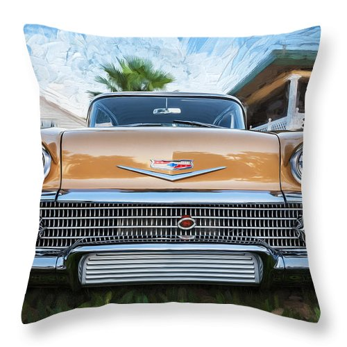 1958 Chevrolet Throw Pillow featuring the photograph 1958 Chevrolet Bel Air Impala Painted  by Rich Franco