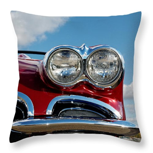 Chevrolet Throw Pillow featuring the photograph 1958 Corvette by Colin Woods