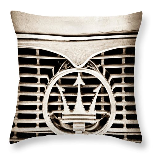 1958 Maserati Hood Emblem Throw Pillow featuring the photograph 1958 Maserati Hood - Grille Emblem by Jill Reger