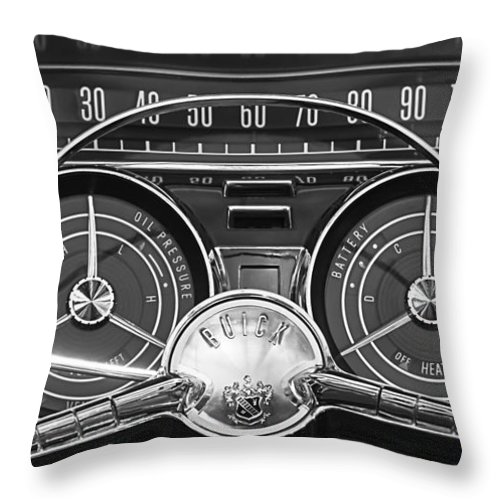 1959 Buick Lesabre Throw Pillow featuring the photograph 1959 Buick Lasabre Steering Wheel by Jill Reger