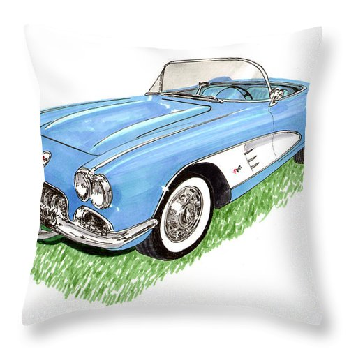 Framed Art Prints Of 1959 Corvette Frost Blue With White Coves Detailed & Ready Throw Pillow featuring the painting 1959 Corvette Frost Blue by Jack Pumphrey