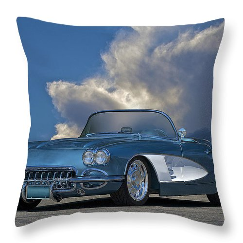 Auto Throw Pillow featuring the photograph 1959 Corvette Roadster 1 by Dave Koontz