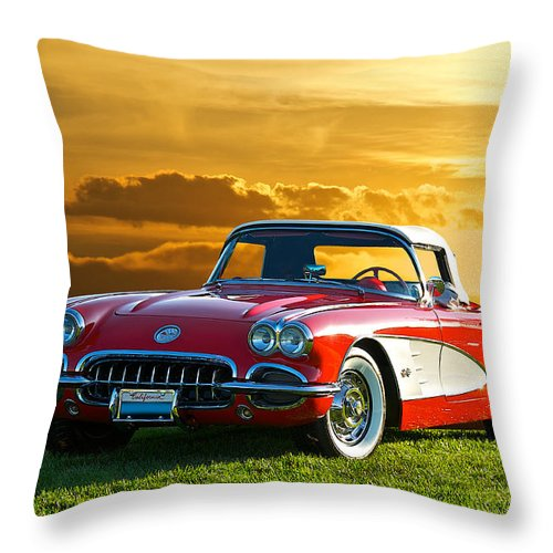 Auto Throw Pillow featuring the photograph 1959 Corvette Roadster by Dave Koontz