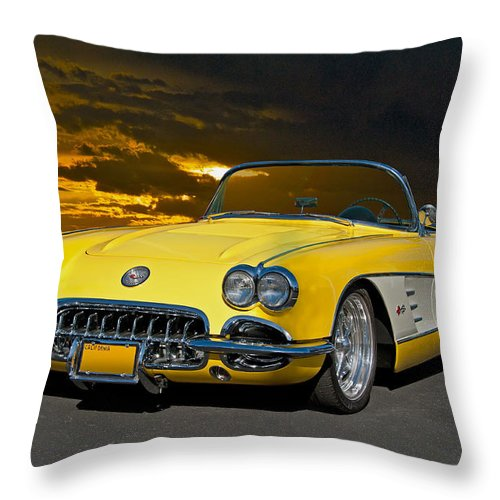 Auto Throw Pillow featuring the photograph 1959 Corvette Yellow Roadster by Dave Koontz
