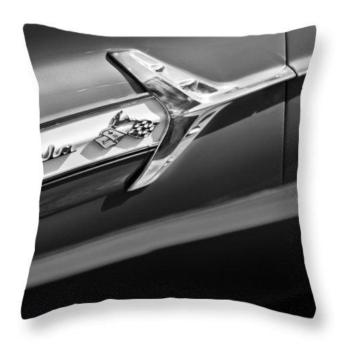 1960 Chevrolet Impala Side Emblem Throw Pillow featuring the photograph 1960 Chevrolet Impala Side Emblem by Jill Reger