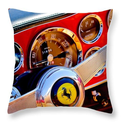 1960 Ferrari 250 Gt Cabriolet Pininfarina Series Ii Throw Pillow featuring the photograph 1960 Ferrari 250 Gt Cabriolet Pininfarina Series II Steering Wheel Emblem -1319c 1960 by Jill Reger