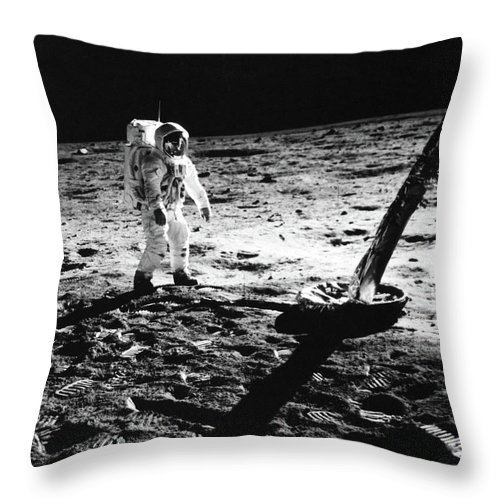Photography Throw Pillow featuring the photograph 1960s Astronaut Buzz Aldrin In Space by Vintage Images