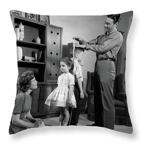 Photography Throw Pillow featuring the photograph 1960s Father Measuring Daughter & Son by Vintage Images