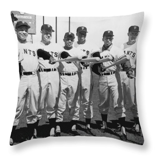 1961 Throw Pillow featuring the photograph 1961 San Francisco Giants by Underwood Archives