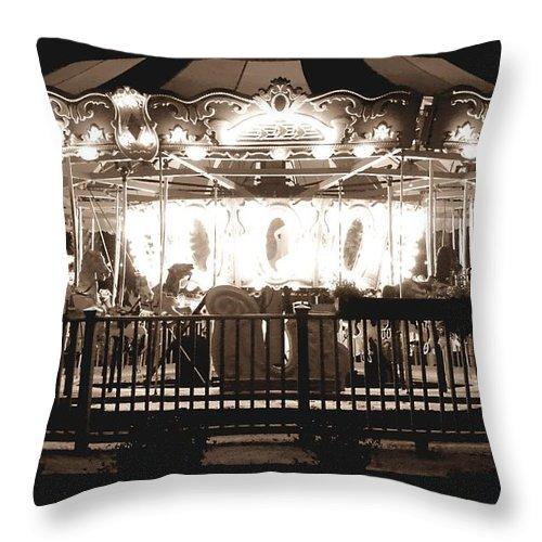 Allan Throw Pillow featuring the photograph 1964 Allan Herschell Carousel by Debra Forand