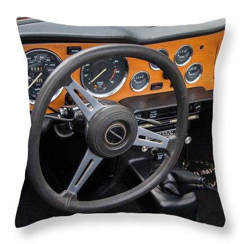1965 Austin Healey Throw Pillow featuring the photograph 1965 Austin Healey Interior by Roger Mullenhour