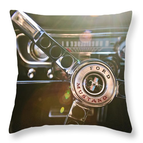 1965 Shelby Prototype Ford Mustang Throw Pillow featuring the photograph 1965 Shelby Prototype Ford Mustang Steering Wheel Emblem by Jill Reger