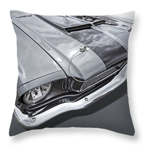 Ford Mustang Throw Pillow featuring the photograph 1966 Mustang Hood And Headlight by Gill Billington